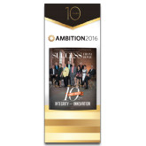 33.5 x 80 Vertical Banner including Silver Retractable Banner Stand-Success PopUp Banner McClure 2