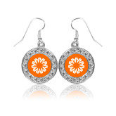 Crystal Studded Round Pendant Silver Dangle Earrings-Spark