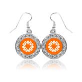 Crystal Studded Round Pendant Silver Dangle Earrings-Spark