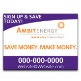 Yard Sign w/Step Stake, No Rider Single Sided 18 x 24-Sign Up, Save Money Make Money in Purple