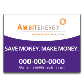 Yard Sign w/Step Stake, No Rider Double Sided 18 x 24-Save Money. Make Money. in Purple