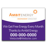 Yard Sign w/Step Stake, No Rider Double Sided 18 x 24-We Get Free Energy.. in Purple