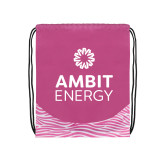 Nylon Zebra Pink/White Patterned Drawstring Backpack-Ambit Energy