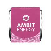 Nylon Zebra Pink/White Patterned Drawstring Backpack-Ambit Energy