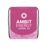 Nylon Zebra Pink/White Patterned Drawstring Backpack-Ambit Energy Japan