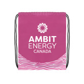 Nylon Zebra Pink/White Patterned Drawstring Backpack-Ambit Energy Canada