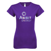 Next Level Ladies SoftStyle Junior Fitted Purple Tee-Foil
