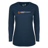 Ladies Syntrel Performance Navy Longsleeve Shirt-Ambit Energy Japan