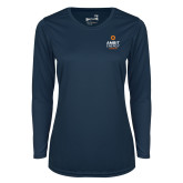 Ladies Syntrel Performance Navy Longsleeve Shirt-Ambit Energy Canada