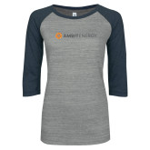 ENZA Ladies Athletic Heather/Navy Vintage Baseball Tee-Ambit Energy