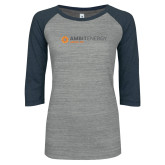 ENZA Ladies Athletic Heather/Navy Vintage Baseball Tee-Ambit Energy Japan