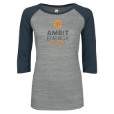 ENZA Ladies Athletic Heather/Navy Vintage Baseball Tee-Ambit Energy Canada
