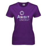 Ladies Purple T Shirt-Foil