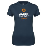 Ladies Syntrel Performance Navy Tee-Ambit Energy Canada