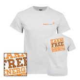 White T Shirt-Earn Free Energy Distressed