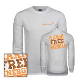 White Long Sleeve T Shirt-Earn Free Energy Distressed