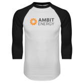 White/Black Raglan Baseball T Shirt-Ambit Energy