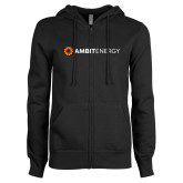 ENZA Ladies Black Fleece Full Zip Hoodie-Ambit Energy