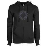 ENZA Ladies Black Fleece Full Zip Hoodie-Spark Graphite Soft Glitter