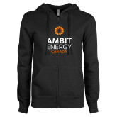 ENZA Ladies Black Fleece Full Zip Hoodie-Ambit Energy Canada