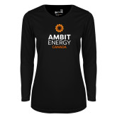 Ladies Syntrel Performance Black Longsleeve Shirt-Ambit Energy Canada