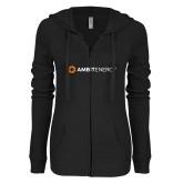 ENZA Ladies Black Light Weight Fleece Full Zip Hoodie-Ambit Energy