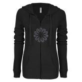 ENZA Ladies Black Light Weight Fleece Full Zip Hoodie-Spark Graphite Soft Glitter