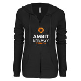 ENZA Ladies Black Light Weight Fleece Full Zip Hoodie-Ambit Energy Canada