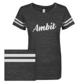 ENZA Ladies Black/White Vintage Triblend Football Tee-Ambit Script