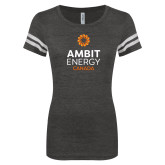 ENZA Ladies Black/White Vintage Football Tee-Ambit Energy Canada