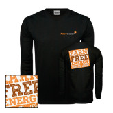 Black Long Sleeve TShirt-Earn Free Energy Distressed