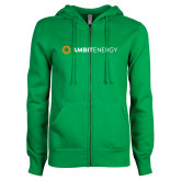 ENZA Ladies Kelly Green Fleece Full Zip Hoodie-Ambit Energy