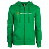 ENZA Ladies Kelly Green Fleece Full Zip Hoodie-Ambit Energy