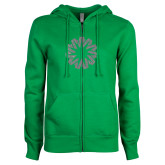 ENZA Ladies Kelly Green Fleece Full Zip Hoodie-Spark Silver Soft Glitter