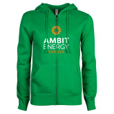 ENZA Ladies Kelly Green Fleece Full Zip Hoodie-Ambit Energy Canada