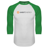White/Kelly Green Raglan Baseball T Shirt-Ambit Energy