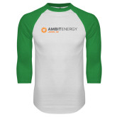 White/Kelly Green Raglan Baseball T Shirt-Ambit Energy Japan