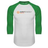 White/Kelly Green Raglan Baseball T Shirt-Ambit Energy Japan