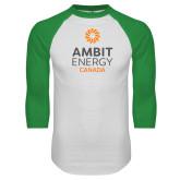 White/Kelly Green Raglan Baseball T Shirt-Ambit Energy Canada
