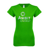 Next Level Ladies SoftStyle Junior Fitted Kelly Green Tee-Foil