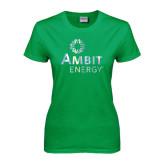 Ladies Kelly Green T Shirt-Foil