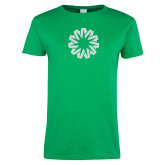 Ladies Kelly Green T Shirt-Spark White Soft Glitter