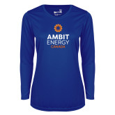 Ladies Syntrel Performance Royal Longsleeve Shirt-Ambit Energy Canada