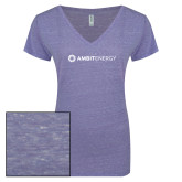 ENZA Ladies Surfer Blue Melange V Neck Tee-Ambit Energy