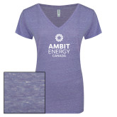 ENZA Ladies Surfer Blue Melange V Neck Tee-Ambit Energy Canada