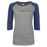 ENZA Ladies Athletic Heather/Blue Vintage Baseball Tee-Ambit Energy