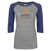 ENZA Ladies Athletic Heather/Blue Vintage Baseball Tee-Ambit Energy Canada