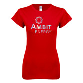Next Level Ladies SoftStyle Junior Fitted Red Tee-Foil