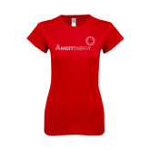 Next Level Ladies SoftStyle Junior Fitted Red Tee-Sequins