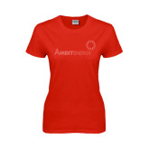 Ladies Red T Shirt-Sequins